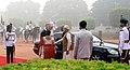 The President, Shri Ram Nath Kovind and the Prime Minister, Shri Narendra Modi receiving the King and Queen of Belgium, at the Ceremonial Reception, at Rashtrapati Bhawan, in New Delhi on November 07, 2017.jpg