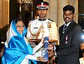 The President, Smt. Pratibha Devisingh Patil presenting Padma Shri Award to Shri Ignace Tirkey, at the Civil Investiture Ceremony-I, at Rashtrapati Bhavan, in New Delhi on March 31, 2010.jpg