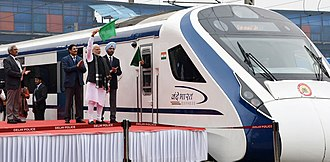 Train 18 - PM Narendra Modi flagging off Vande Bharat Express at New Delhi Railway Station on February 15, 2019