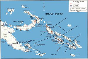 Bougainville Campaign - The Solomon Islands with Bougainville in the Center (New Guinea is on the left)