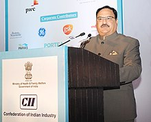 The Union Minister for Health & Family Welfare, Shri J.P. Nadda addressing the 12th India Health Summit, organised by the CII, in New Delhi on December 10, 2015.jpg