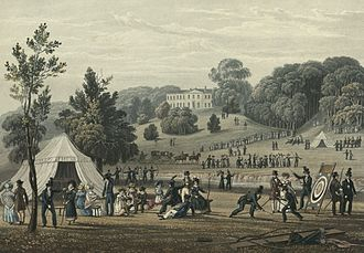 "Club (organization) - A print of the 1822 meeting of the ""Royal British Bowmen"" archery club."
