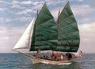 Bedar (ship) - The original Naga Pelangi, bedar, (45' LOD), built 1981, sailing off Singapore 1981