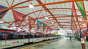 Bukit Jalil LRT station - The roof of the station features colourful panels with sports symbolisms.