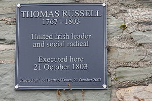 Thomas Russell (rebel) - Memorial plaque, Down County Museum, Downpatrick, County Down, August 2009