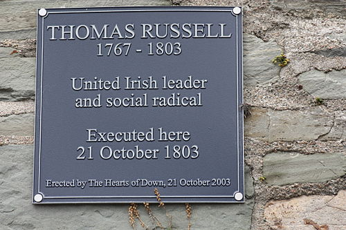 Memorial plaque, Down County Museum, Downpatrick, County Down, August 2009 Thomas Russell (01), August 2009.JPG