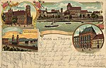 Thorn, Westpreußen - Rathaus; Eisenbahnbrücke (Zeno Ansichtskarten).jpg