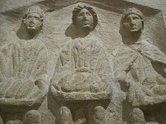 Corinium Dobunnorum - Three Goddesses or Matres. Roman high relief sculpture, Corinium Museum, Cirencester