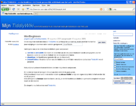 Screenshot van TiddlyWiki