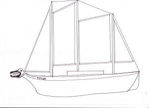 Tilikum (boat) - A sketch of the Tilikum in 1901, just before the voyage