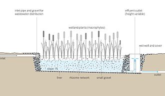 Constructed wetland - Image: Tilley et al 2014 Schematic of the Horizontal Subsurface Flow Constructed Wetland