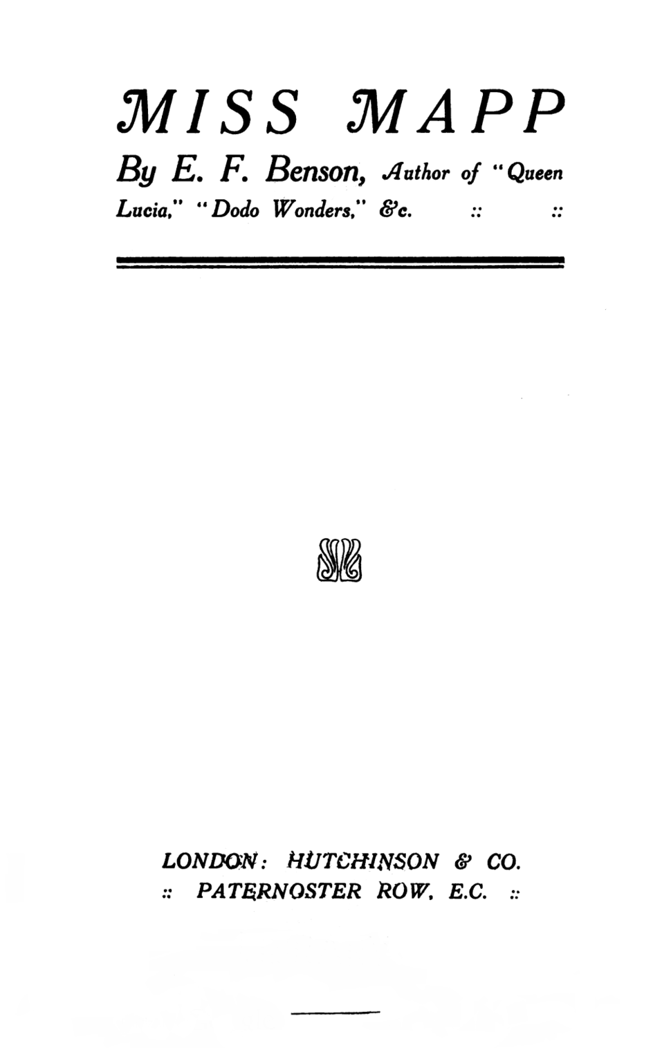 Title Page of Miss Mapp