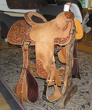 Western saddle - Full double-rigged team roping saddle. Note extra wide back cinch