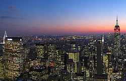 Midtown Manhattan at dusk, as seen southward from Rockefeller Center in January 2006.
