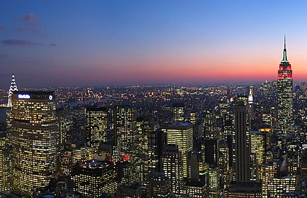 The New York City metropolitan area is home to by far the largest Jewish-American population. Top of Rock Cropped.jpg