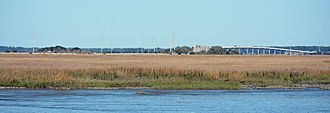 F.J. Torras Causeway - Part of the FJ Torras Causeway, viewed from Brunswick, over the Marshes of Glynn. St. Simons is in the distance.
