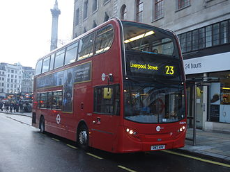London Buses route 23 - Tower Transit Alexander Dennis Enviro400 at Charing Cross station in February 2014