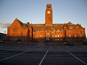 Barrow's iconic Town Hall at sunset.