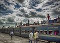 Train on the platform, Dhaka.jpg