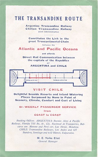 Trans-Andean railways - Advertisement from Traveller's Guide to the Argentine (Guia del Viajero a la Argentina) number 13, July–December 1932, page 42, inside rear cover