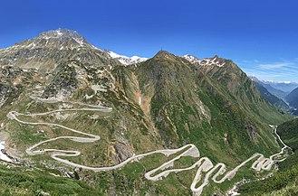 Battle of Gotthard Pass - The modern road zig-zags up the Val Tremola toward the Gotthard Pass.