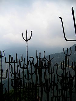 Tridents (Trishul) brought as offerings to Guna Devi., near Dharamsala, Himachal Pradesh.jpg