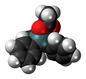 Fentin acetate - Image: Triphenyltin acetate 3D spacefill