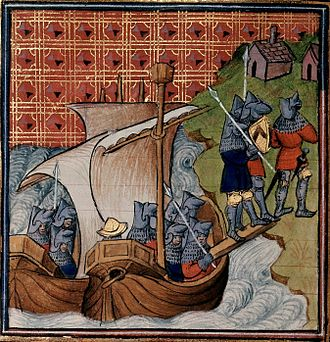 Peasants' Revolt - English soldiers landing in Normandy, c. 1380–1400, during the Hundred Years' War