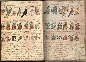 Codex Tudela - Folios 98 verso and 99 recto, showing aspects of the Aztec calendar: the birds of the day, the lords of the night, and the day signs.