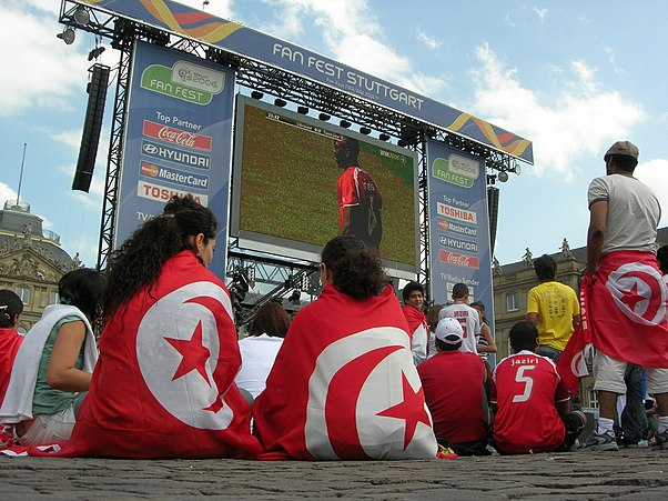Tunisian supporters watching their match against Ukraine at the Fan Fest in Stuttgart, Germany Tunisia.jpg