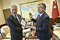 Turkish Minister of National Defense Ismet Yilmaz, right, presents a photo to U.S. Secretary of Defense Chuck Hagel Sept 140908-D-NI589-841.jpg