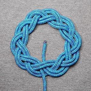 Turk's head knot - A 3-lead, 10-bight Turk's head knot, doubled