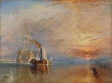 Oil painting of a tug towing a sailing ship towards the viewer as the sun sets in the right hand side.