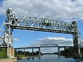 Twin railway lift bridges over St. Lawrence Seaway in Montreal.jpg