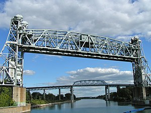 Saint-Laurent Railway Bridge - Image: Twin railway lift bridges over St. Lawrence Seaway in Montreal