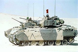 Armoured cavalry - Two M3 Bradleys in 1990 during Desert Shield.