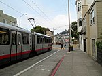 Two trains at 30th Street and Dolores, August 2017.JPG