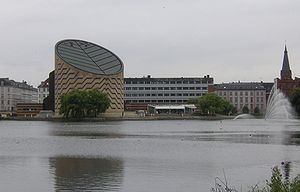 Cylinder - Tycho Brahe Planetarium building, Copenhagen, is an example of a truncated cylinder