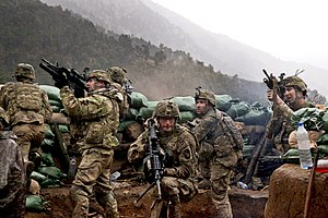327th Infantry Regiment (United States) - U.S. Soldiers with 2nd Battalion, 327th Infantry Regiment, 101st Airborne Division return fire during a firefight with Taliban forces in Barawala Kalay Valley in Kunar province, Afghanistan, March 31, 2011