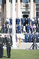 U.S. Coast Guardsmen salute as a color guard presents the colors during the first Cadet Parade of 2013 at the Coast Guard Academy in New London, Conn., April 5, 2013 130405-G-VG516-473.jpg
