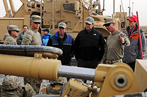 Mark Begich - Begich, along with Bill Huizenga and Ron Wyden, visiting military personnel at Kandahar Airfield in January 2012.