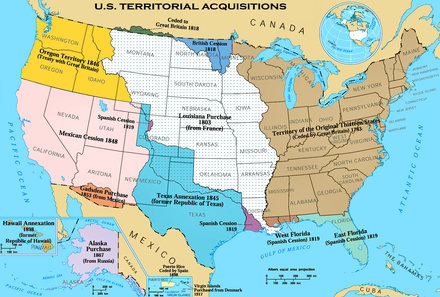 U.S. territorial acquisitions-portions of each territory were granted statehood since the 18th century. U.S. Territorial Acquisitions.png