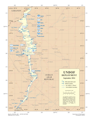 United Nations Disengagement Observer Force - UNDOF deployment map, 2014