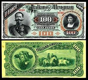 ABCorp (American Banknote Corporation) - 100 pesos Banco Italiano del Uruguay (1887)