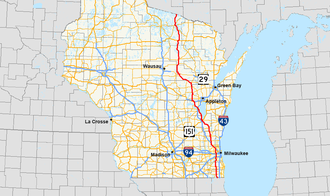 U.S. Route 45 in Wisconsin - Image: US 45 (WI) map