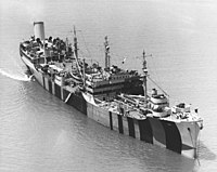USS Mississinewa (AO-59) anchored in Hampton Roads, Virginia (USA), on 25 May 1944 (NH 97279).jpg