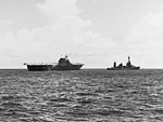USS Northampton (CA-26) attempting to tow USS Hornet (CV-8) on 26 October 1942 (80-G-33897).jpg