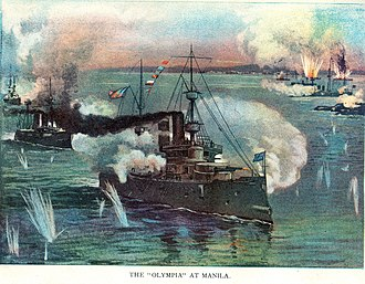 Asiatic Squadron - The Asiatic Squadron destroying the Spanish fleet in the Battle of Manila Bay on 1 May 1898.