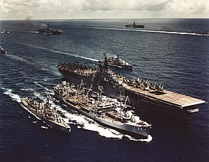 USS Platte (AO-24) refueling USS Philippine Sea (CVA-47) and USS Watts (DD-567), 1955