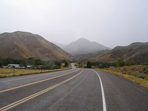 U.S. Route 89 in Utah - Looking south from Sevier towards the Sevier Canyon